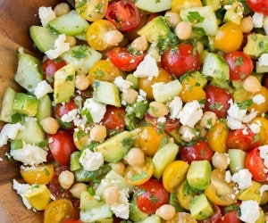 Tomato Avocado Cucumber Chick Pea Salad | Cooking Classy