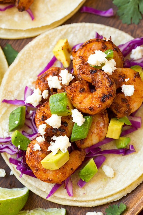 Close up image of shrimp taco.