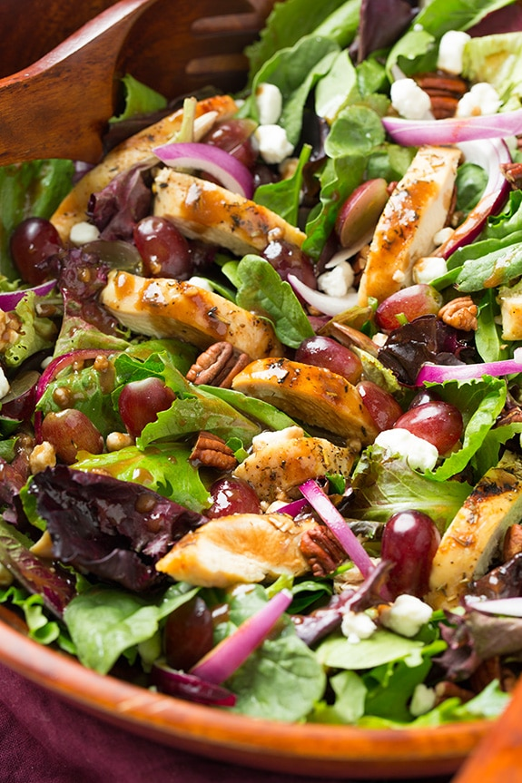 Grilled Chicken and Grape Spring Salad with Goat Cheese and Honey Balsamic Dressing | Cooking Classy