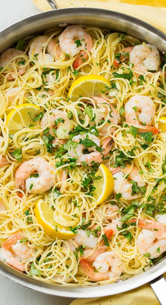 Lemon-Parmesan Angel Hair Pasta with Shrimp | Cooking Classy