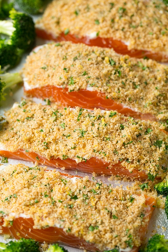 Baked parmesan salmon and broccoli ready to bake in oven