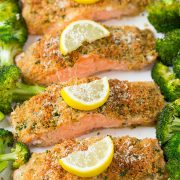 Single Sheet Pan Parmesan Crusted Salmon with Roasted Broccoli | Cooking Classy