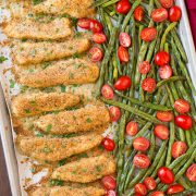 One Pan Roasted Garlic-Parmesan Chicken and Green Beans with Fresh Grape Tomatoes | Cooking Classy