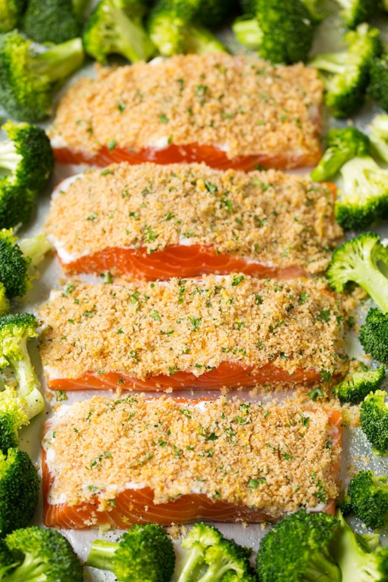 Parmesan crusted salmon filets ready to bake with broccoli on sheet pan