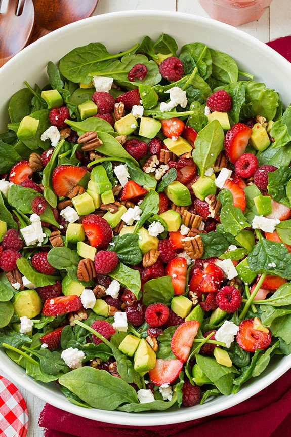 Red Berry & Avocado Spinach Salad with Strawberry Poppy Seed Dressing ...