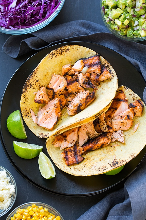 Grilled Salmon Tacos With Avocado Salsa Cooking Classy