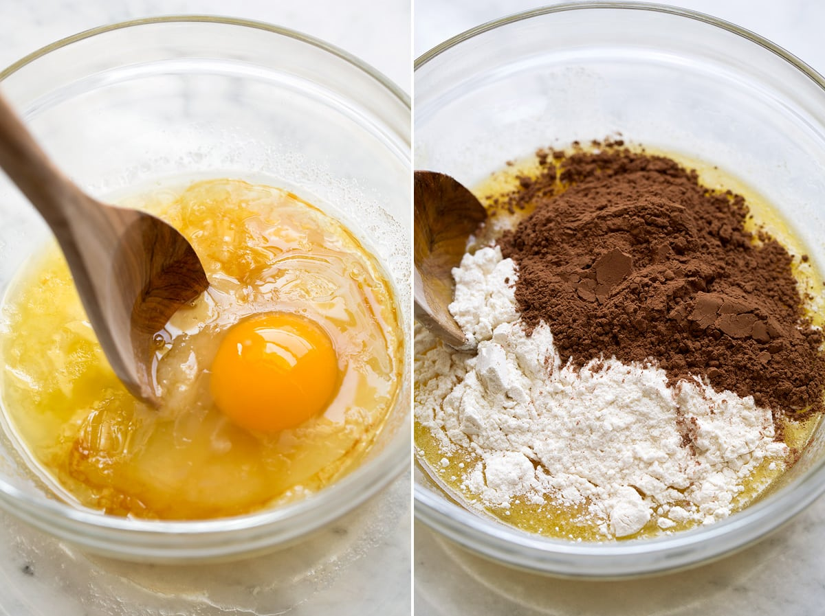 Egg being added to butter sugar mixture in mixing bowl, then flour and cocoa powder added to mixture.