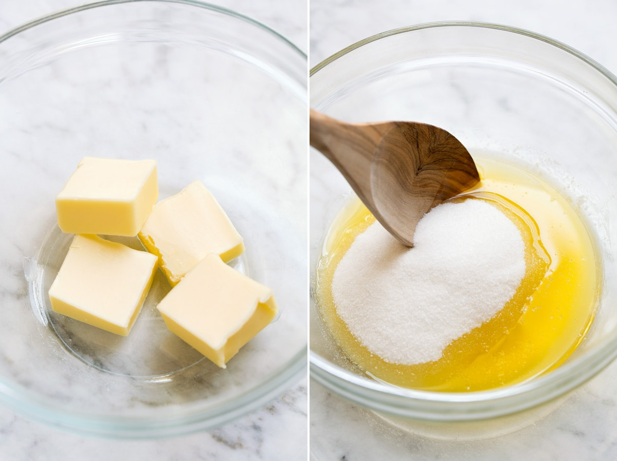 Butter and sugar in a glass mixing bowl.