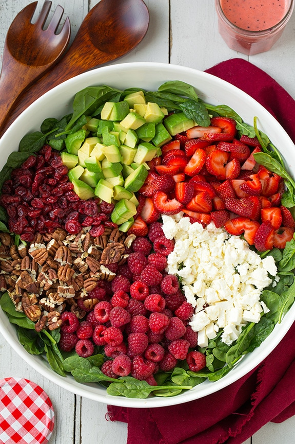 Red Berry & Avocado Spinach Salad with Strawberry Poppy ...
