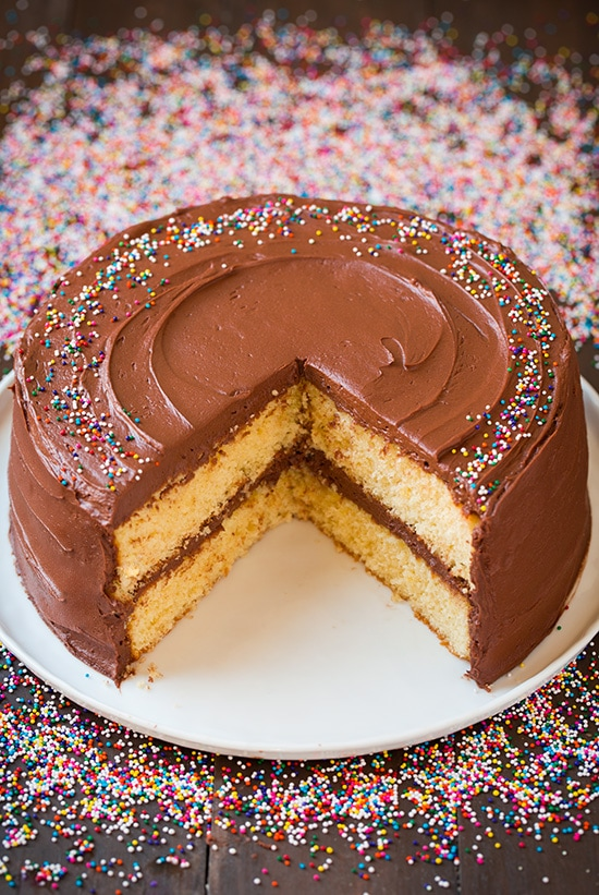 Homemade Yellow Cake With Chocolate Frosting on Plate
