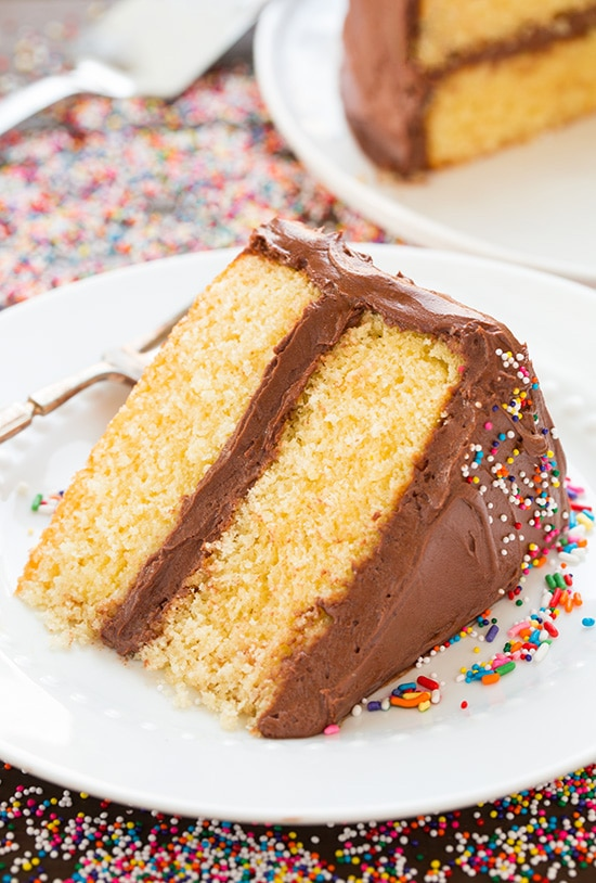 Yellow Cake with Chocolate Buttercream Frosting - Cooking Classy