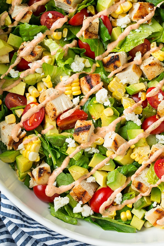 Avocado And Grilled Chicken Chopped Salad With Skinny Chipotle Lime Ranch Cooking Classy