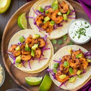 Chipotle Shrimp Tacos with Cilantro Lime Crema | Cooking Classy