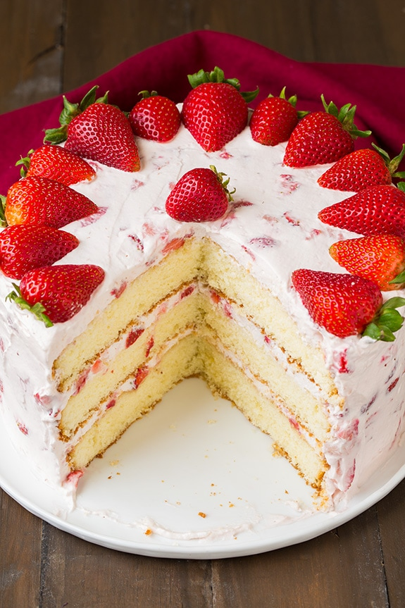 Fresh Strawberry Cake on a white plate
