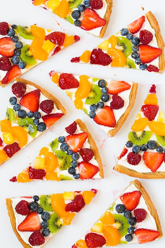 Overhead image of nine slices of fruit pizza.