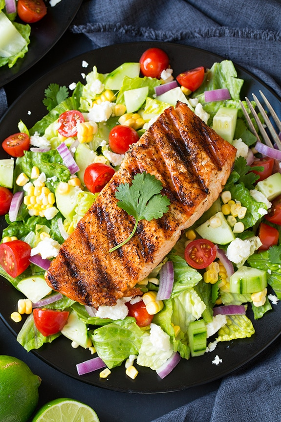 Mexican Grilled Salmon Salad with Avocado Greek Yogurt ...
