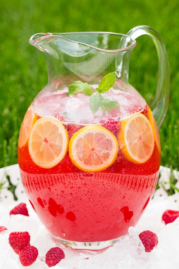 Sparkling Raspberry Lemonade in glass pitcher