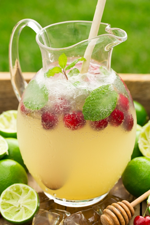 Sparkling Honey Limeade in glass pitcher