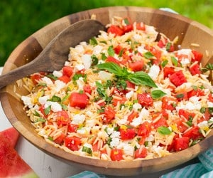 Watermelon Feta Orzo Salad with Lemon and Basil | Cooking Classy