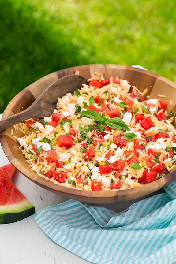 Watermelon Feta Orzo Salad with Lemon and Basil