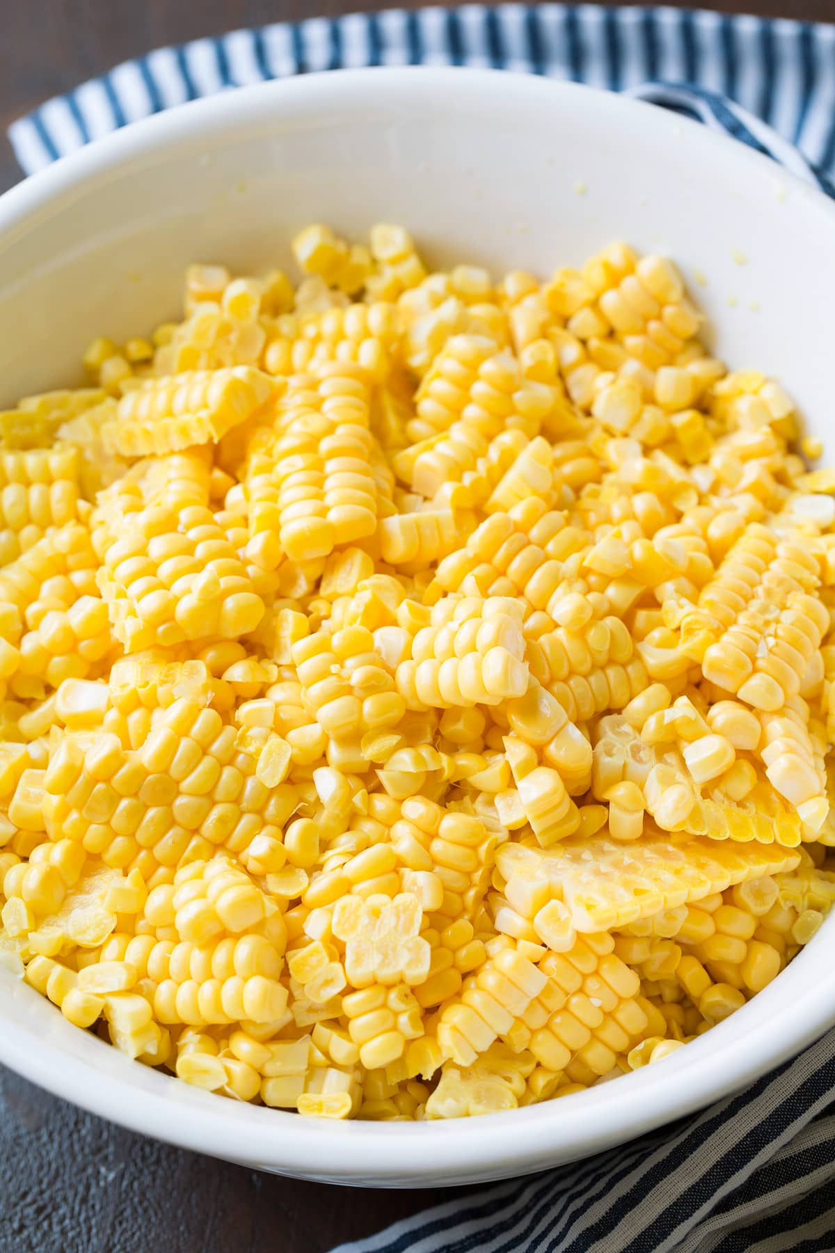 Bowl full of fresh corn kernels.