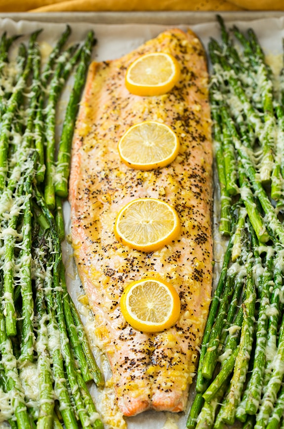 One Pan Roasted Lemon Pepper Salmon and Garlic Parmesan Asparagus ...