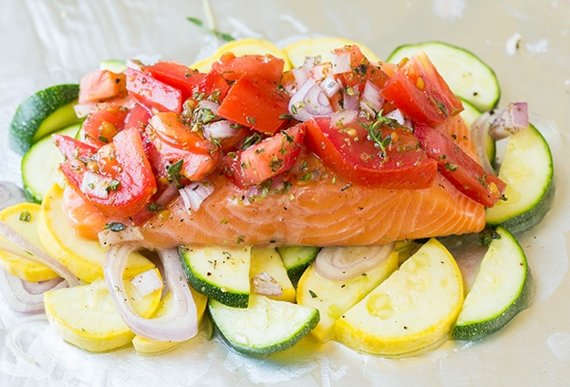 salmon and summer veggies in foil cooking classy. Black Bedroom Furniture Sets. Home Design Ideas