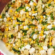 Zucchini Corn and Quinoa Bowls with Grilled Chicken and Lemon | Cooking Classy