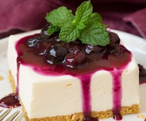 No Bake Cheesecake Bars with Fresh Blueberry Sauce   Cooking Classy