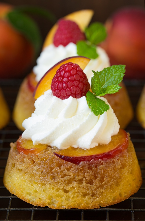 Cornmeal Peach Upside Down Cupcakes | Cooking Classy