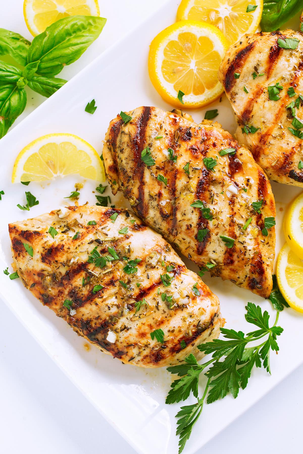 Close up image of grilled chicken breasts with herb topping and char marks.