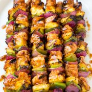 Hawaiian chicken kebabs on a plate