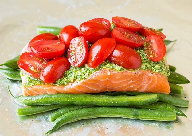 Pesto Salmon and Italian Veggies in Foil | Cooking Classy