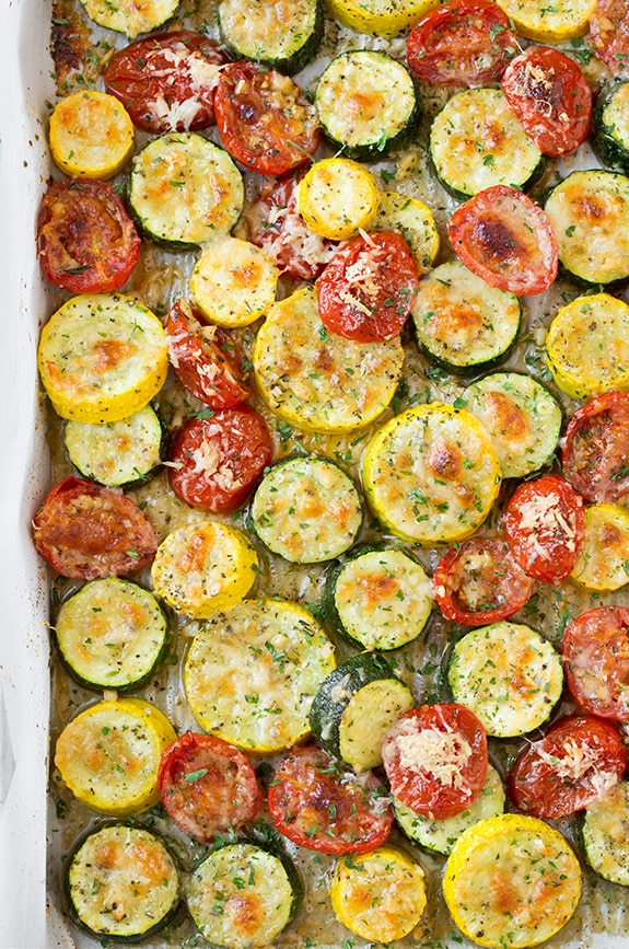 Roasted Zucchini, Squash and Tomatoes on a sheet pan