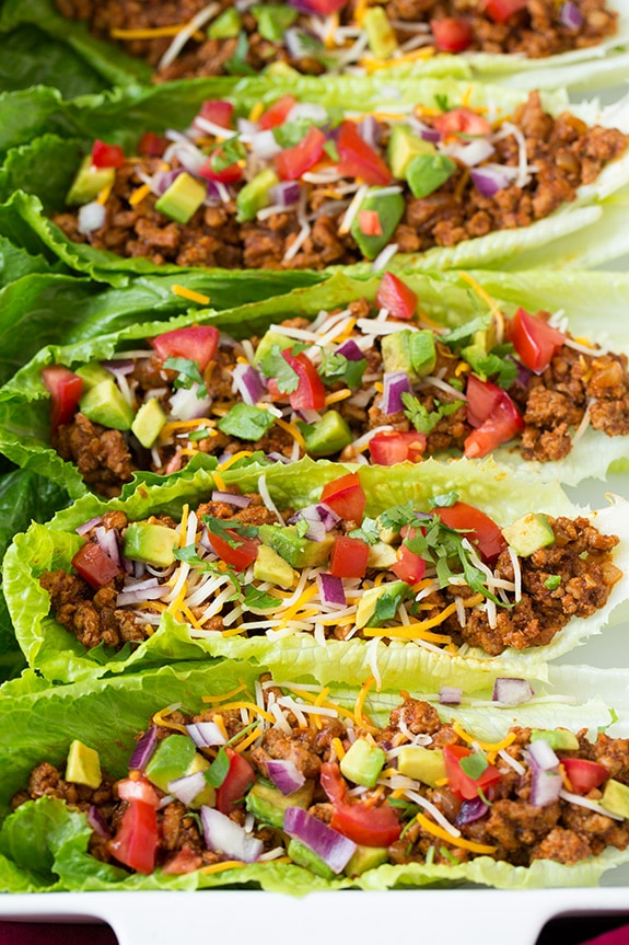 A close up of Turkey Taco Lettuce Wraps