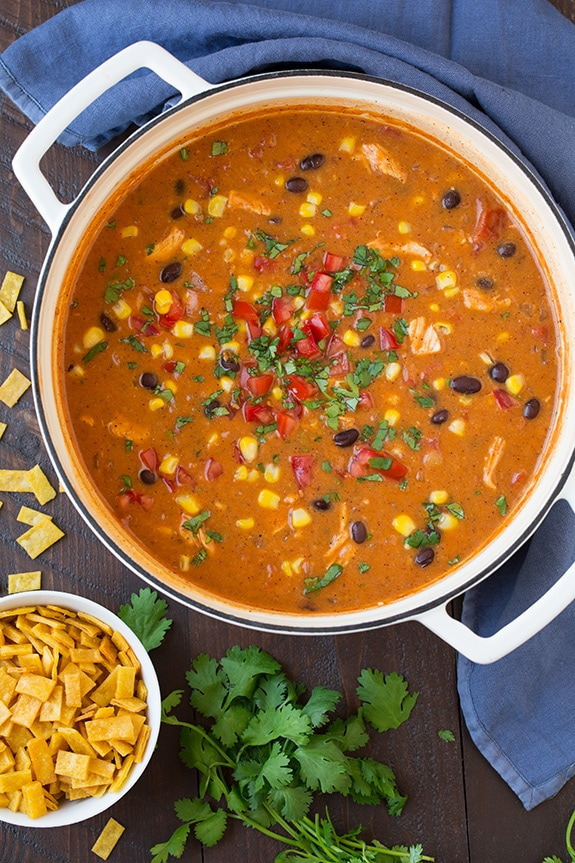 Cheesy Chicken Enchilada Soup   Cooking Classy