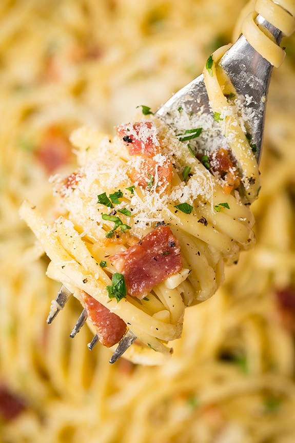 pasta carbonara swirled around a fork