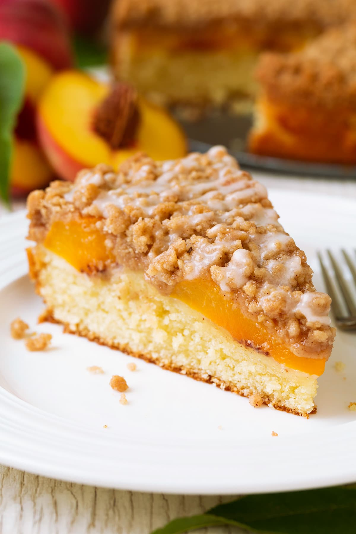 Slice of peach coffee cake