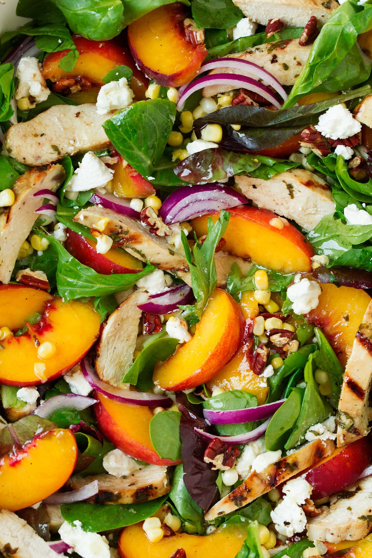 Close up image of peach salad.