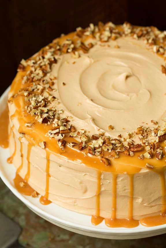 Browned Butter Pumpkin Cake With Salted Caramel Frosting