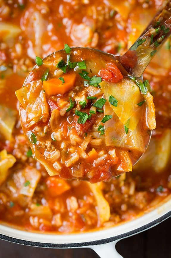 Ladle full of cabbage roll soup, shown up close.