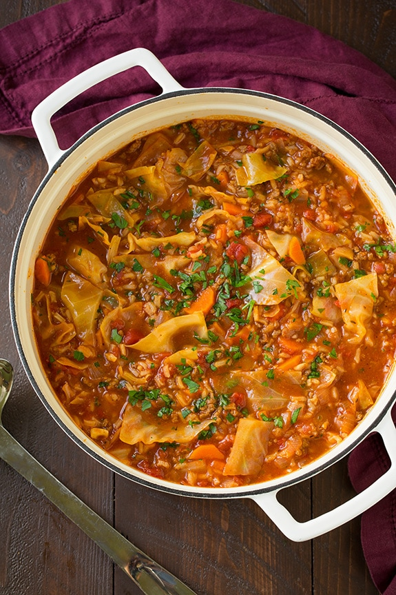 Overhead image of cabbage roll soup in a pot.