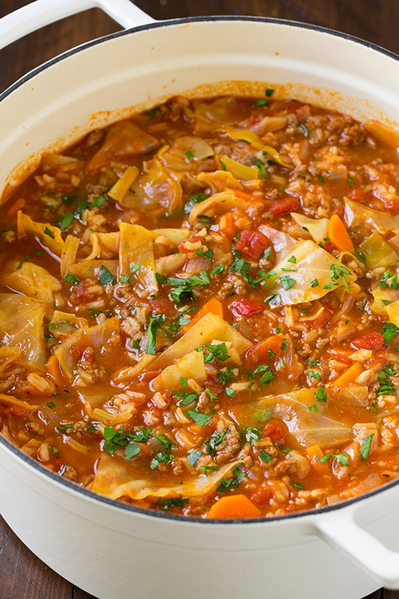 Cabbage roll soup in a large white pot.