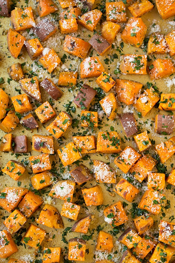 Savory Roasted Sweet Potatoes with Parmesan, Garlic & Herbs