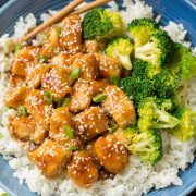 Lighter Honey-Sesame Chicken | Cooking Classy
