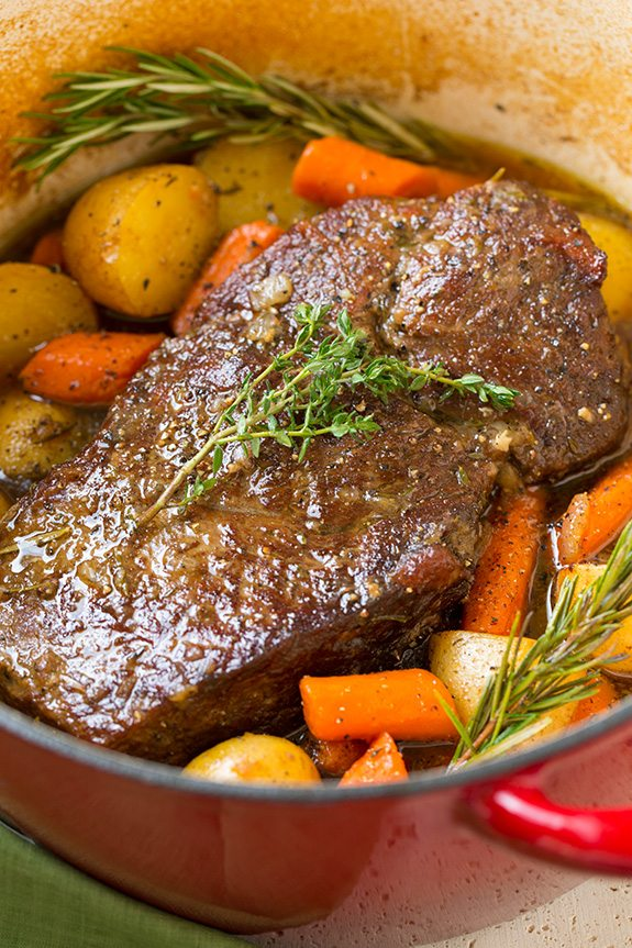 Beef Roast in Pot with carrots and potatoes