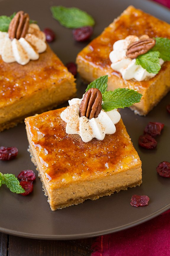 Pumpkin Brulee Cheesecake Bars | Cooking Classy