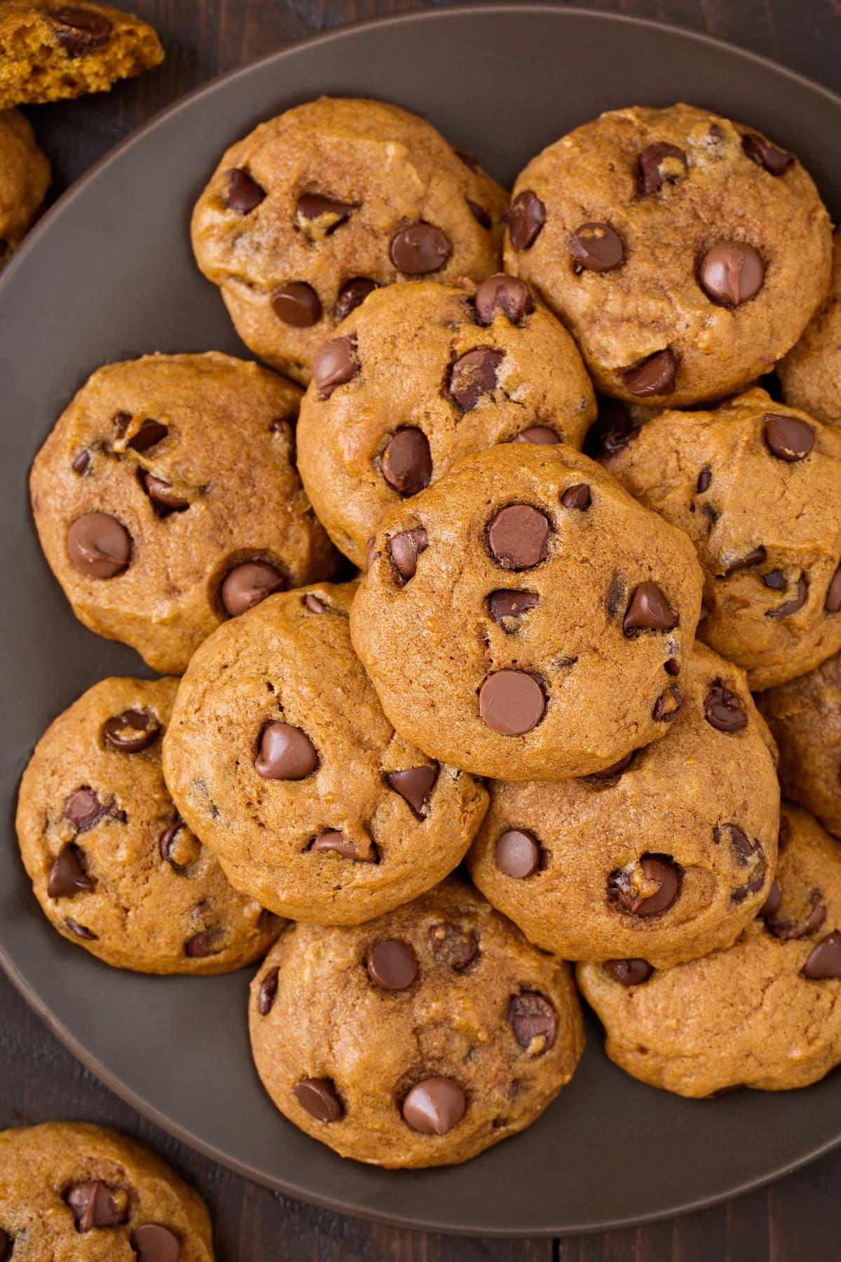 Pumpkin Chocolate Chip Cookies on serving plate.