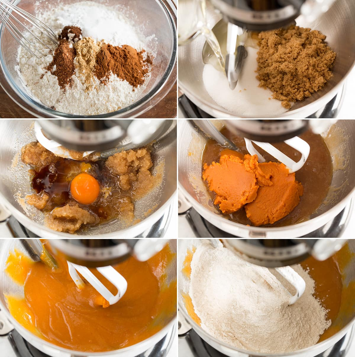 Collage of six images showing how to make pumpkin chocolate chip cookie batter. Shows mixing flour and spices, mixing sugar and oils, blending in egg then pumpkin and mixing in flour mixture with wet mixture.