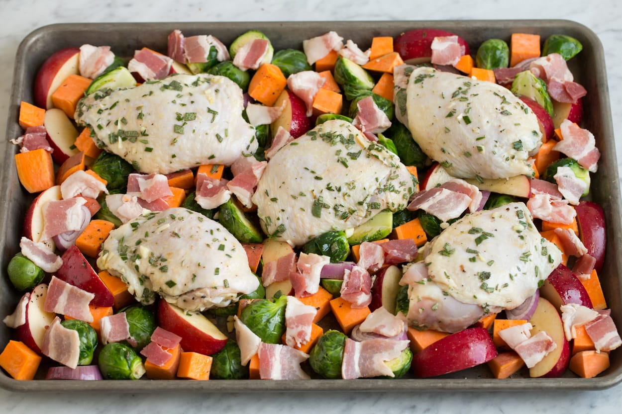 One Pan Autumn Chicken Dinner Before Baking
